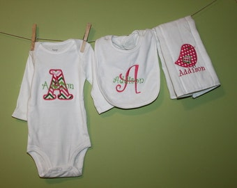 Monogrammed Baby Girl Gift- bodysuit, bib and burp cloth
