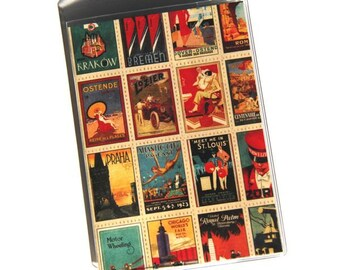 PASSPORT COVER - Vintage Travel Posters.  Vinyl Passport Holder.