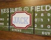 large modern nursery art- personalized triptych painting- vintage scoreboard football baseball - varsity professional sports- green red