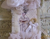 Romantic Jane Austen Downtown Abbey Rhinestones,Lace,Pearls Bridal Tag