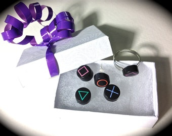 Playstation Button Controller Earrings and ring combo