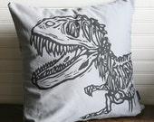 "Grey Dinosaur Pillow Cover 16x16"""