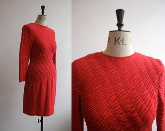 SALE Vintage 1980s Louis Feraud Designer Red Wool Dress Size M