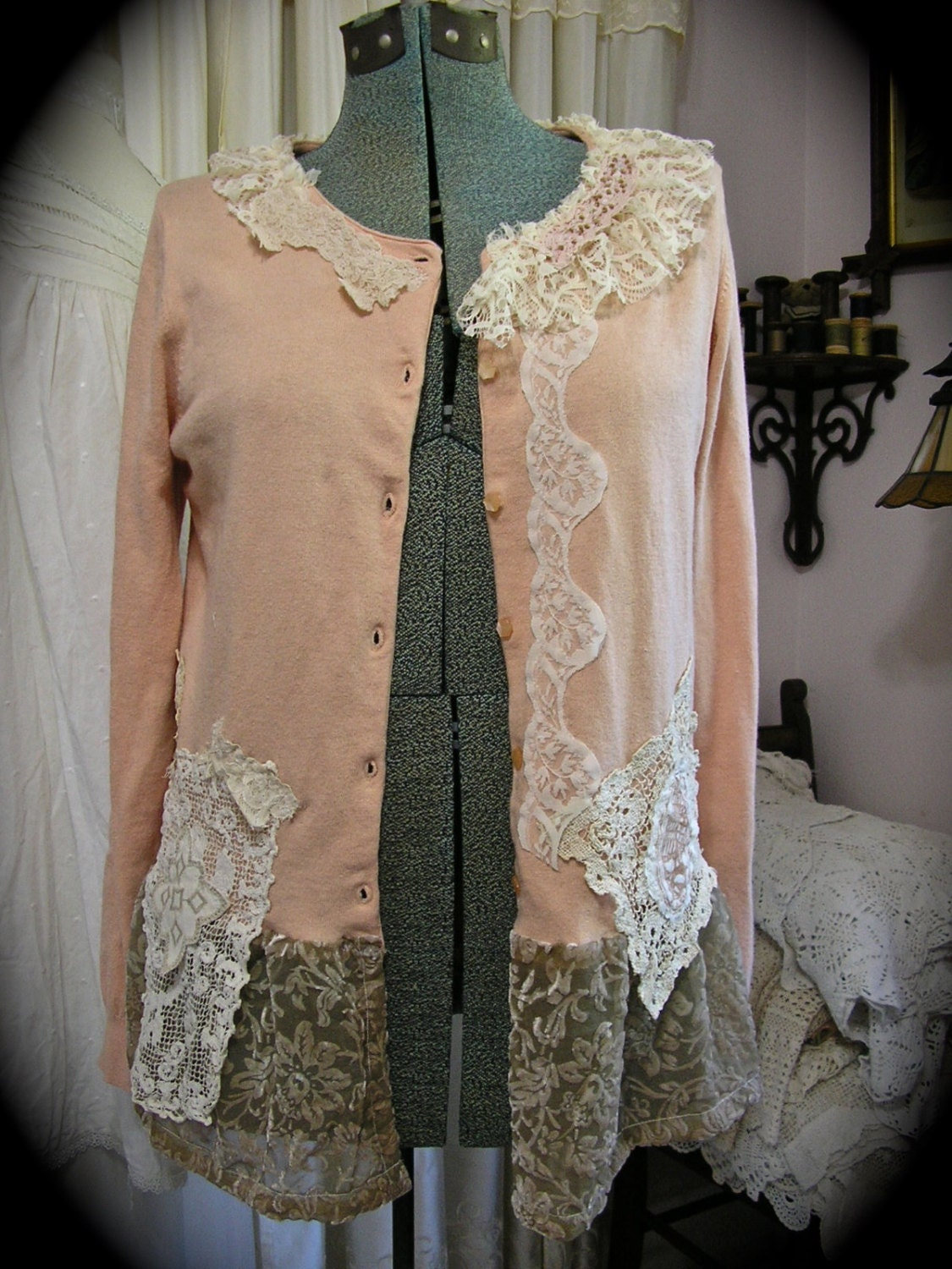 shabby vintage sweater altered upcycled clothing romantic. Black Bedroom Furniture Sets. Home Design Ideas