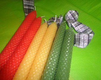 Orange, Yellow, and Sage Green Beeswax Candles