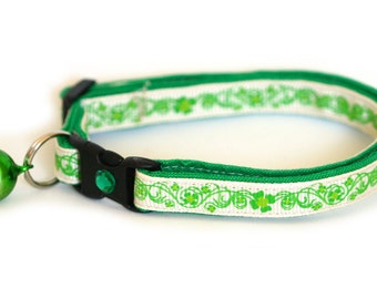 St. Patrick's Day Cat Collar - Pretty Shamrocks on Cream - Small Cat / Kitten or Large Cat Collar