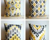Yellow and Grey, Ikat Pillow Cover, Ikat Pillows, Cushion Cover, Pillow Covers, Pillow Sham, Pillowcase - Ikat Sunshine Collection