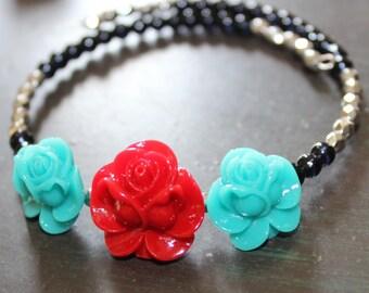 Rockabilly Red Rose Bracelet