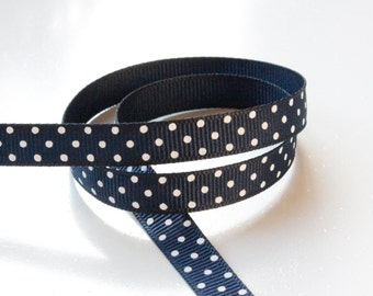 Navy Blue Swiss Dots 3/8 inch Grosgrain Ribbon - Choose 1, 5, 10, 20 or 50 yards - Hairbow Supplies, Etc.