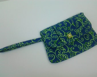 Blue & Green Floral Swirl Print Wristlet Clutch with Floral Lining