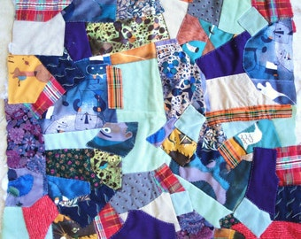 Vintage Crazy Quilt Pillow Top or Chair Cover