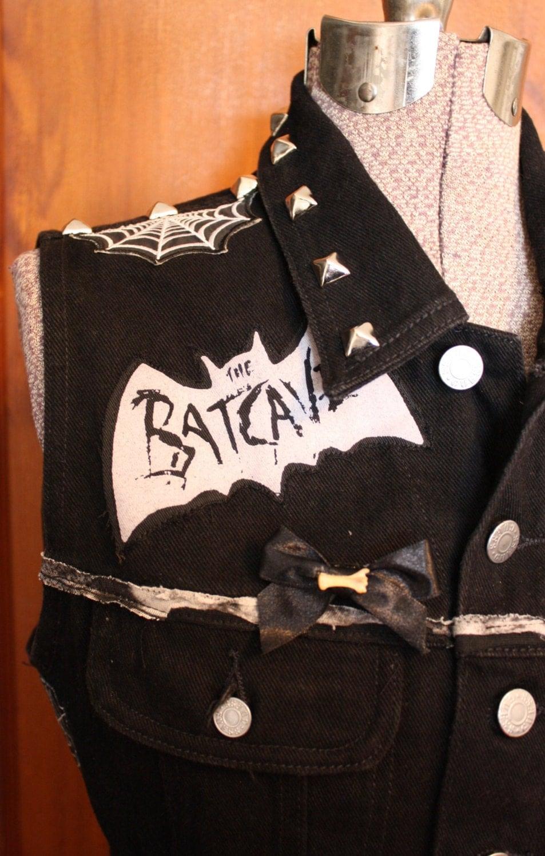 diy trad goth deathrock upcycled black dark punk bands vest