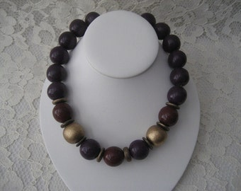 70s PURPLE and BURGUNDY TORQUE Cool Necklace Warm Colors