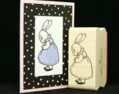 little girl bunny rubber stamp