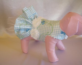 Couture Dog Harness Party Dress - Any Size - Blue Flower Gingham