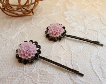 A Pair of Antique Bronze Filigree Bobby Pins with Pink Resin Flower