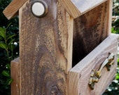 The Charlie II - Covered Natural Wood Bird Feeder with Vintage Hardware, Free Shipping in U.S.