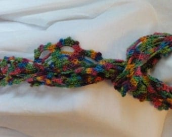 Bright spring colors--pink, turquoise,magenta, orange and purple hand dyed in MT scarf-NZ