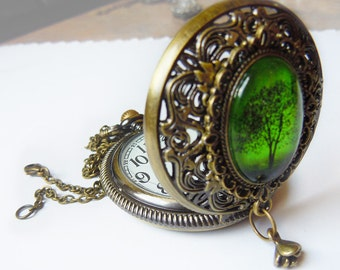 Emerald Bewitched -- Wearable Art Pocket watch necklace.Christmas gift