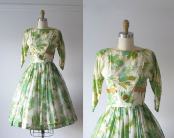 SALE vintage 1950s dress / 50s dress / Greenest Garden