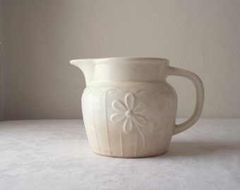 vintage usa pottery pitcher - creamy white - cream pitcher with daisy design