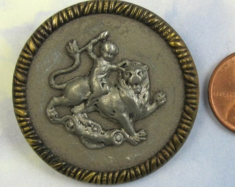 Antique Victorian Button Lion Picture Button 1 1/2 Large Brass Button 207
