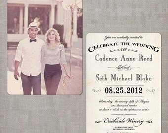 """Wedding Invitation / Wedding Invitations / Wedding Invites / Vintage Invitation / Vintage Wedding Invitation - the """"Cadence 2"""""""