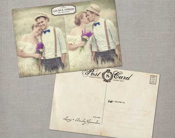 """Vintage Wedding Thank You Cards, 4x6, Wedding thank you cards, - the """"Ainsley 4"""""""