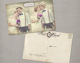 "Vintage Wedding Thank You Cards / Wedding thank yous / Wedding Thank You Cards / Thank you Cards / Thank you postcard - the ""Ainsley 4"""