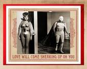 Love Card, Funny Cards, Vintage Cards, Mexican Wrestler, Space Age, Geekery, Alien Woman, El Santo, Alternate Histories