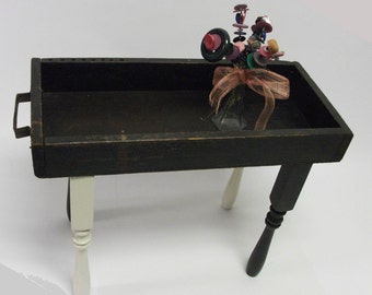 OOAK Vintage Wooden Tray Accent Table Assemblage