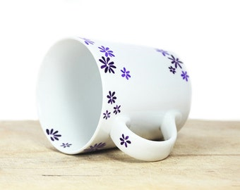Hand Painted Ceramic Mug Tea Cup With purple flower botanical design Minimalist modern white coffee cup  Decorative Ceramic Art