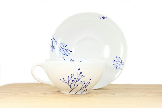 Hand Painted Porcelain Cappuccino Cup and Saucer Hand Painted Cup White Ceramic Blue botanical design Modern Minimalist Kitchen Decor