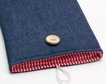 50% OFF SALE Jeans iPad Case with white red stripes inside and button closure. Padded Cover for iPad 1 2 3 4. iPad Sleeve Bag.