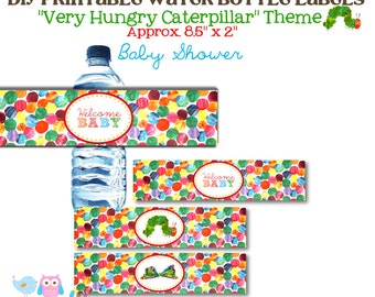 Very Hungry Caterpillar Themed Baby Shower/Gender Reveal Water Bottle Label Wraps -DIY Printable File INSTANT DOWNLOAD