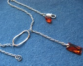 Lariat with Red Swarovski Crystal - Silver Components