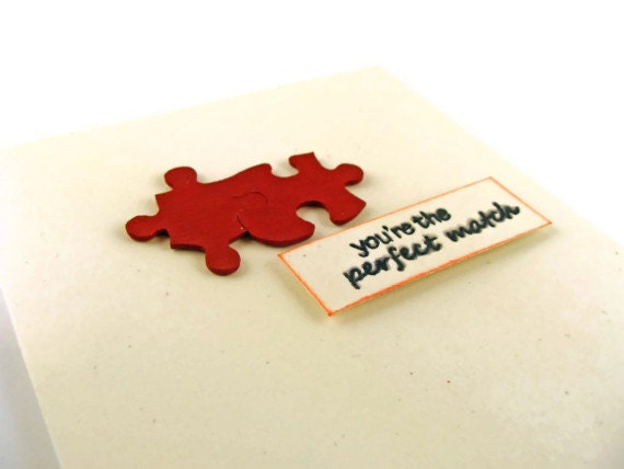 You're the Perfect Match Handmade Greeting Card Valentine's Day Wedding Anniversary Puzzle Pieces Upcycled
