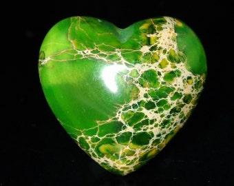 Stunning 2 Pieces Green Sea Sediment Jasper Love / Heart Shaped Cabochon J42B5553