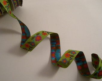 Green and Orange Floral Vine Design Polyester Jacquard Ribbon by Sue Spargo--One Yard