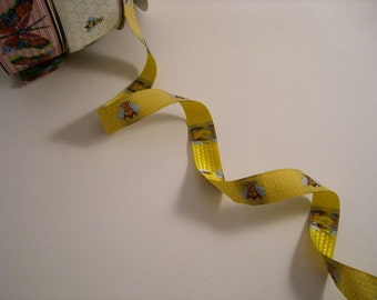 Yellow and Blue Bee on Honeycomb Design Jacquard Ribbon--One Yard