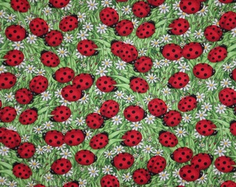 Red and Green Lady Bug Print Pure Cotton Fabric from Timeless Treasures--One Yard