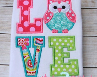 Owl Love Applique Design For Machine Embroidery INSTANT DOWNLOAD now available