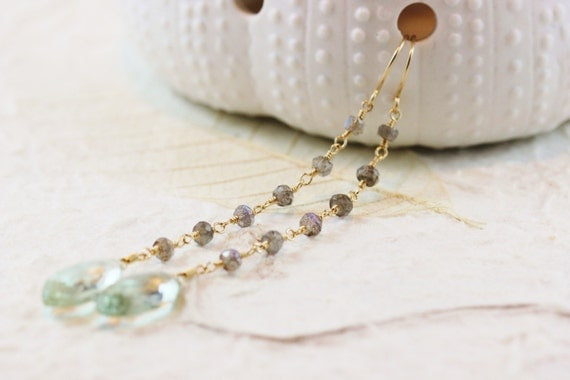 Green Amethyst Marquise Labradorite 14k Gold Filled Earrings February Birthstone Gemstone Long Dangly Wire Wrapped - Paulette