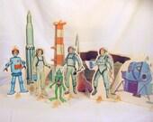 Vintage Toy  Moon Astronauts Rockets Alien Characters Standees Rare  Mid Century Playset SALE Cardboard Activity Set   Fun Lot