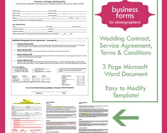 wedding photography contract template business form for photographers instant download
