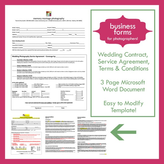 Wedding Photography Contract Template   Business Form For Photographers  (INSTANT DOWNLOAD)
