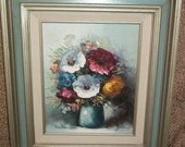 Vintage signed oil painting of flowers in vase