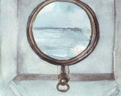 Original watercolor art of travel adventure view through my porthole Painting