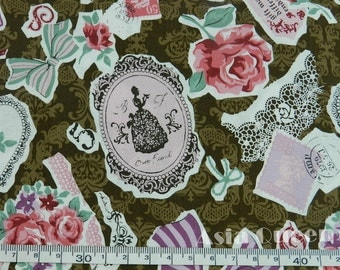 "Cotton fabric - mirror vintage lady - brown - 1 yard - sewing fabric - final 1 yard , Check out with code ""5YEAR"" to save 20% off"