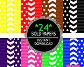Digital Paper Pack Chevron Polka Dot Stripes Scrapbook Papers Bold